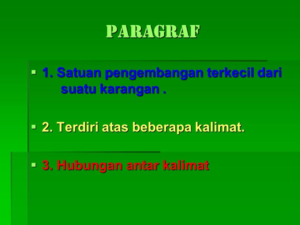 Paragraf  1. Satuan pengembangan terkecil dari suatu karangan.  2. Terdiri atas beberapa kalimat.  3. Hubungan antar kalimat
