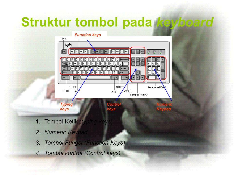 Struktur tombol pada keyboard Typing keys Control keys Numeric Keypad Function keys 1.Tombol Ketik (typing keys) 2.Numeric Keypad 3.Tombol Fungsi (Fun