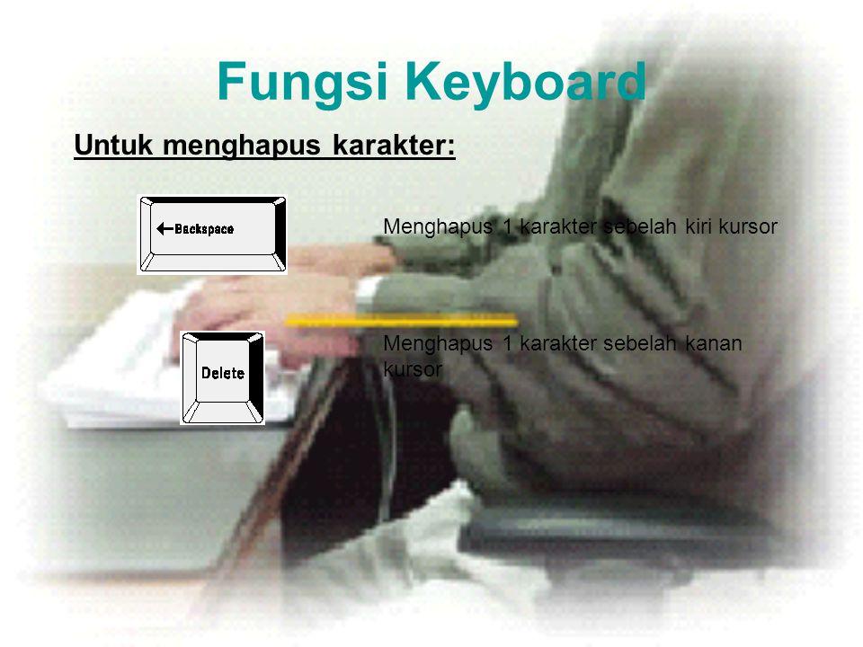 Fungsi Keyboard Untuk menghapus karakter: Menghapus 1 karakter sebelah kiri kursor Menghapus 1 karakter sebelah kanan kursor
