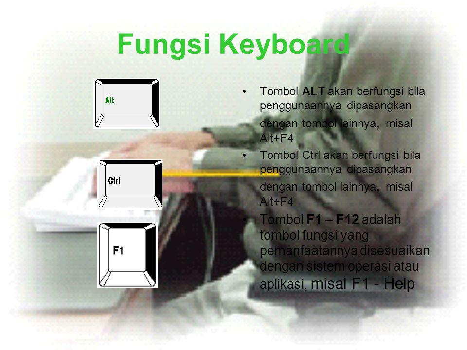Fungsi Keyboard •Tombol ALT akan berfungsi bila penggunaannya dipasangkan dengan tombol lainnya, misal Alt+F4 •Tombol Ctrl akan berfungsi bila penggun