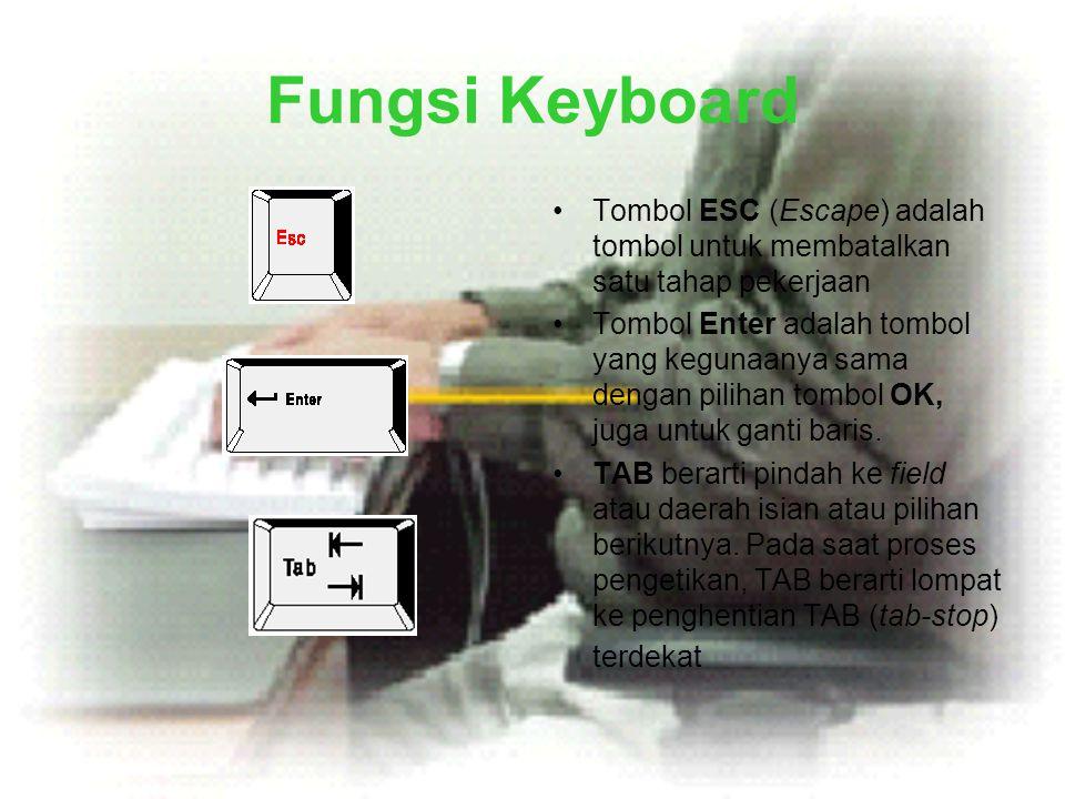 Fungsi Keyboard •Tombol ESC (Escape) adalah tombol untuk membatalkan satu tahap pekerjaan •Tombol Enter adalah tombol yang kegunaanya sama dengan pili