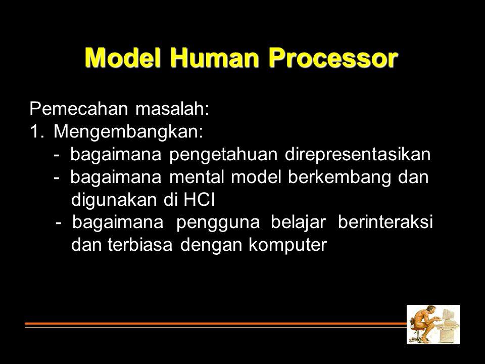 Pemecahan masalah: 1.Mengembangkan: - bagaimana pengetahuan direpresentasikan - bagaimana mental model berkembang dan digunakan di HCI - bagaimana pen