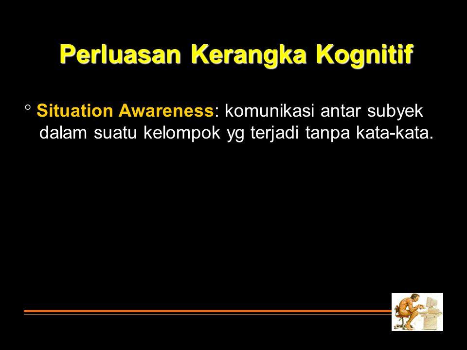  Situation Awareness: komunikasi antar subyek dalam suatu kelompok yg terjadi tanpa kata-kata. Perluasan Kerangka Kognitif