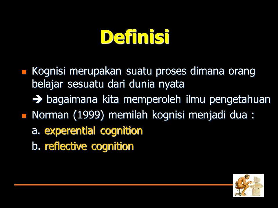 Definisi  Kognisi merupakan suatu proses dimana orang belajar sesuatu dari dunia nyata  bagaimana kita memperoleh ilmu pengetahuan  Norman (1999) m