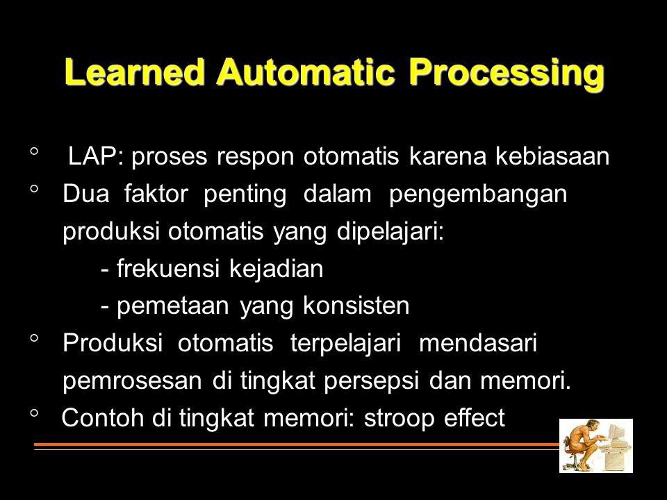 Learned Automatic Processing  LAP: proses respon otomatis karena kebiasaan  Dua faktor penting dalam pengembangan produksi otomatis yang dipelajari: