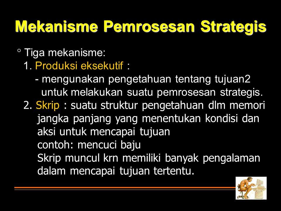  Tiga mekanisme: 1. Produksi eksekutif : - mengunakan pengetahuan tentang tujuan2 untuk melakukan suatu pemrosesan strategis. 2. Skrip : suatu strukt
