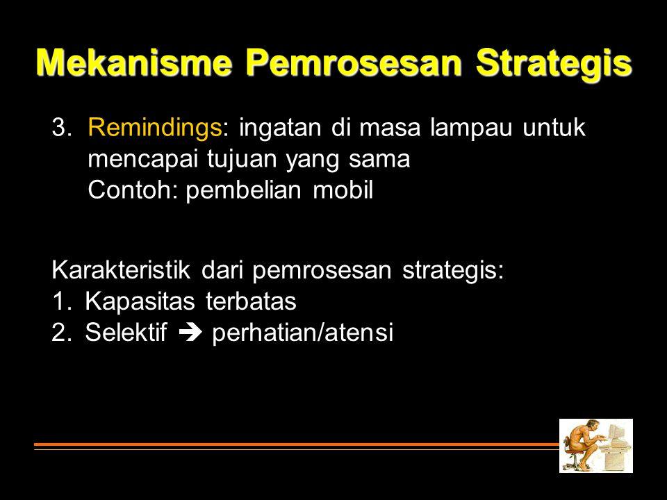 3. Remindings: ingatan di masa lampau untuk mencapai tujuan yang sama Contoh: pembelian mobil Mekanisme Pemrosesan Strategis Karakteristik dari pemros