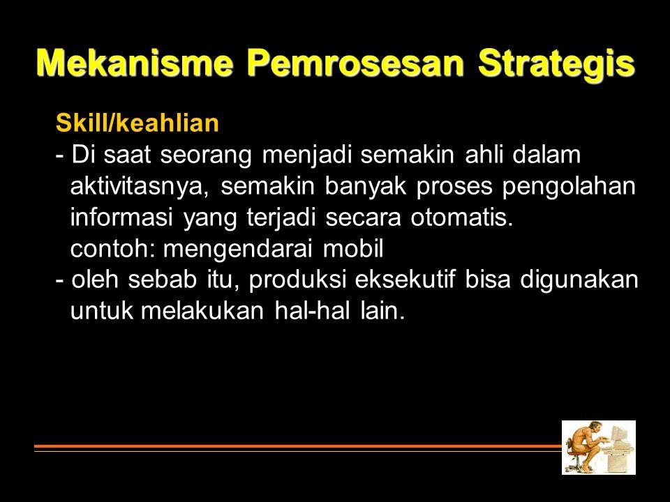 Mekanisme Pemrosesan Strategis Skill/keahlian - Di saat seorang menjadi semakin ahli dalam aktivitasnya, semakin banyak proses pengolahan informasi ya