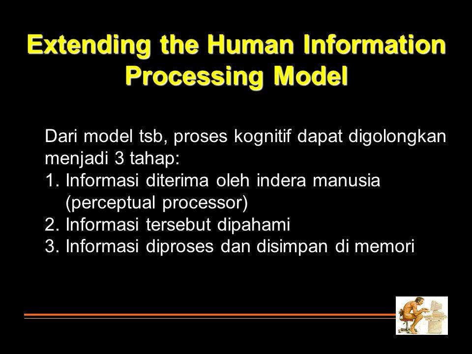 Dari model tsb, proses kognitif dapat digolongkan menjadi 3 tahap: 1. Informasi diterima oleh indera manusia (perceptual processor) 2. Informasi terse
