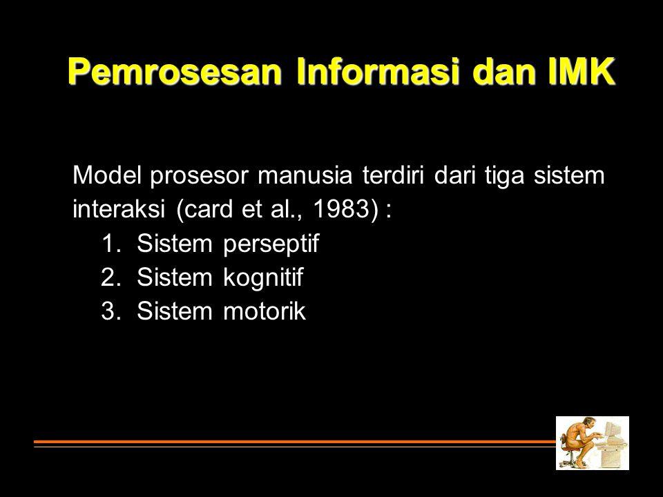Pemrosesan Informasi dan IMK Model prosesor manusia terdiri dari tiga sistem interaksi (card et al., 1983) : 1. Sistem perseptif 2. Sistem kognitif 3.