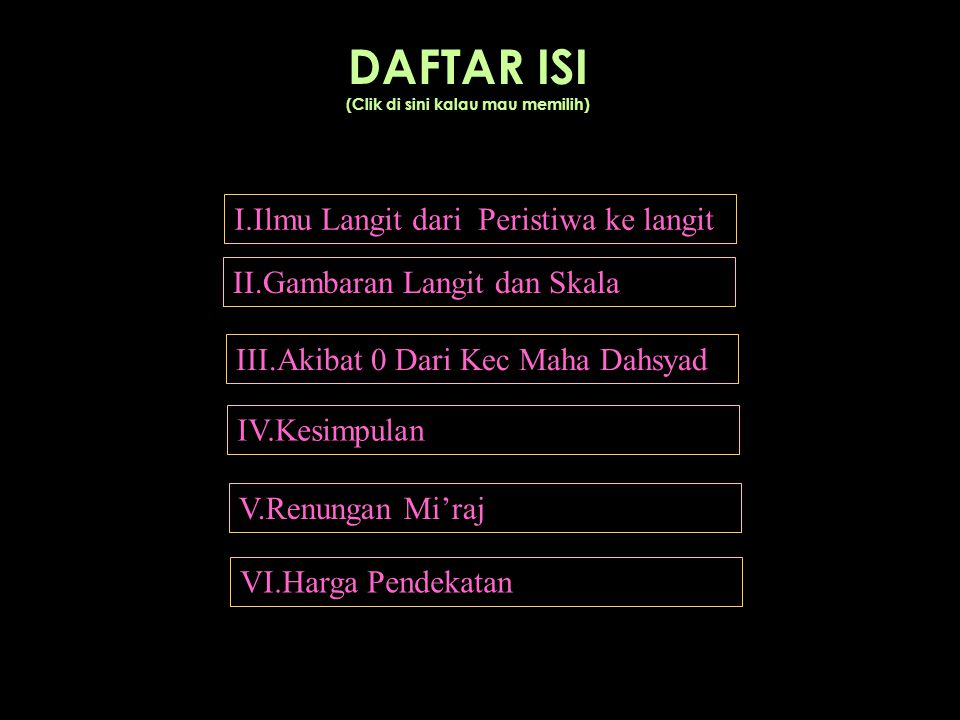 DAFTAR ISI (Clik di sini kalau mau memilih) I.Ilmu Langit dari Peristiwa ke langit II.Gambaran Langit dan Skala III.Akibat 0 Dari Kec Maha Dahsyad IV.Kesimpulan V.Renungan Mi'raj VI.Harga Pendekatan