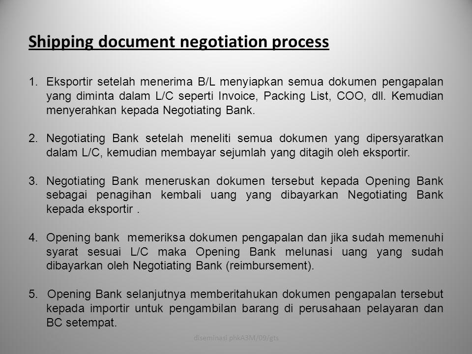 Shipping document negotiation process 1.Eksportir setelah menerima B/L menyiapkan semua dokumen pengapalan yang diminta dalam L/C seperti Invoice, Pac