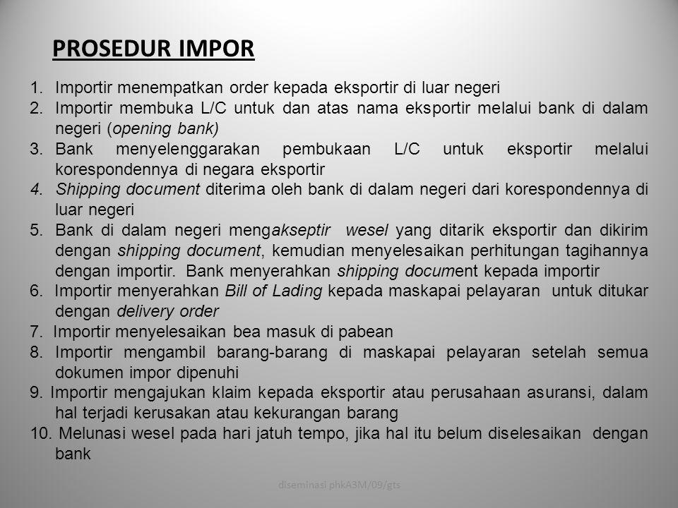 PROSEDUR IMPOR 1.Importir menempatkan order kepada eksportir di luar negeri 2.Importir membuka L/C untuk dan atas nama eksportir melalui bank di dalam