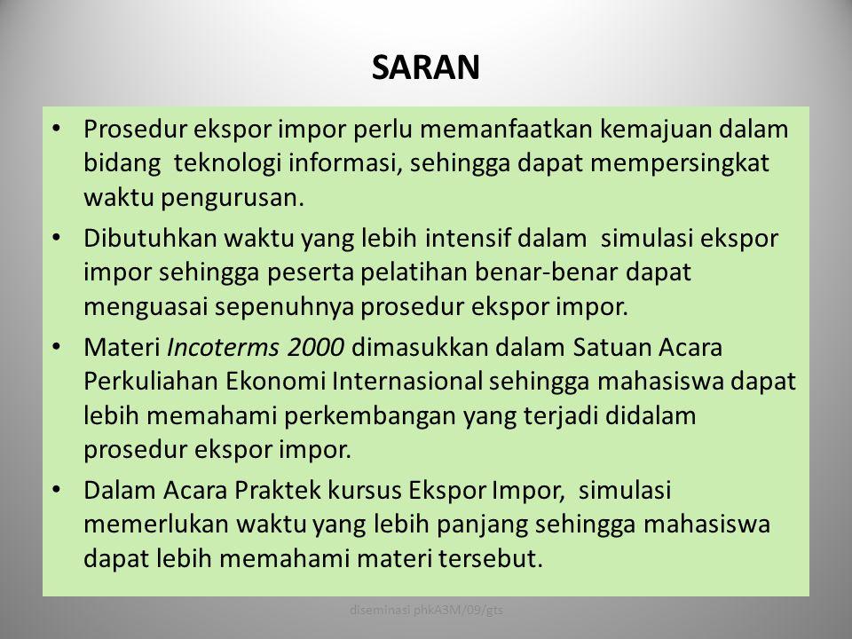 SARAN • Prosedur ekspor impor perlu memanfaatkan kemajuan dalam bidang teknologi informasi, sehingga dapat mempersingkat waktu pengurusan. • Dibutuhka