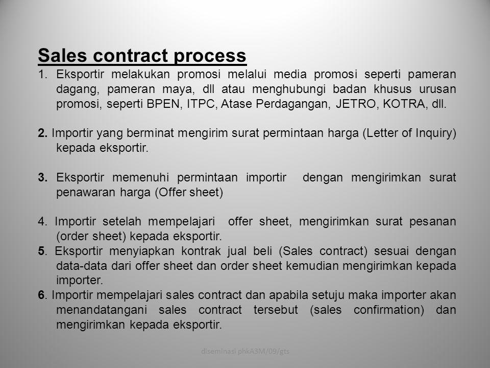 Sales contract process 1.Eksportir melakukan promosi melalui media promosi seperti pameran dagang, pameran maya, dll atau menghubungi badan khusus uru