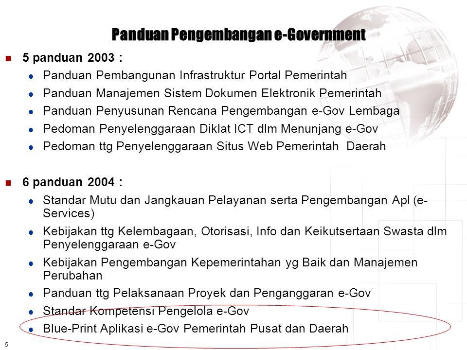 5 Panduan Pengembangan e-Government  5 panduan 2003 :  Panduan Pembangunan Infrastruktur Portal Pemerintah  Panduan Manajemen Sistem Dokumen Elektronik Pemerintah  Panduan Penyusunan Rencana Pengembangan e-Gov Lembaga  Pedoman Penyelenggaraan Diklat ICT dlm Menunjang e-Gov  Pedoman ttg Penyelenggaraan Situs Web Pemerintah Daerah  6 panduan 2004 :  Standar Mutu dan Jangkauan Pelayanan serta Pengembangan Apl (e- Services)  Kebijakan ttg Kelembagaan, Otorisasi, Info dan Keikutsertaan Swasta dlm Penyelenggaraan e-Gov  Kebijakan Pengembangan Kepemerintahan yg Baik dan Manajemen Perubahan  Panduan ttg Pelaksanaan Proyek dan Penganggaran e-Gov  Standar Kompetensi Pengelola e-Gov  Blue-Print Aplikasi e-Gov Pemerintah Pusat dan Daerah