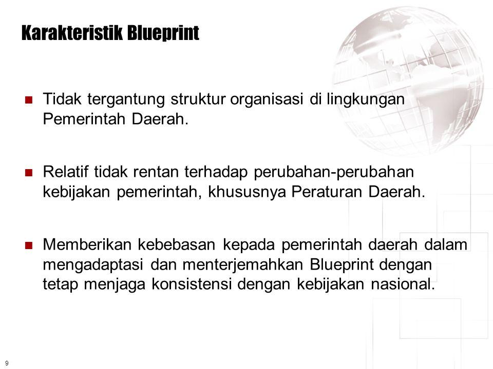 9 Karakteristik Blueprint  Tidak tergantung struktur organisasi di lingkungan Pemerintah Daerah.