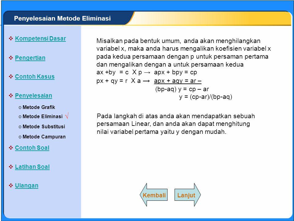 SISTEM PERSAMAAN LINEAR Metode Eliminasi adalah cara penyelesaian sistem persaman linear dengan menghilangkan/menghapus salah satu variabel untuk mencari nilai variabel yang lain.