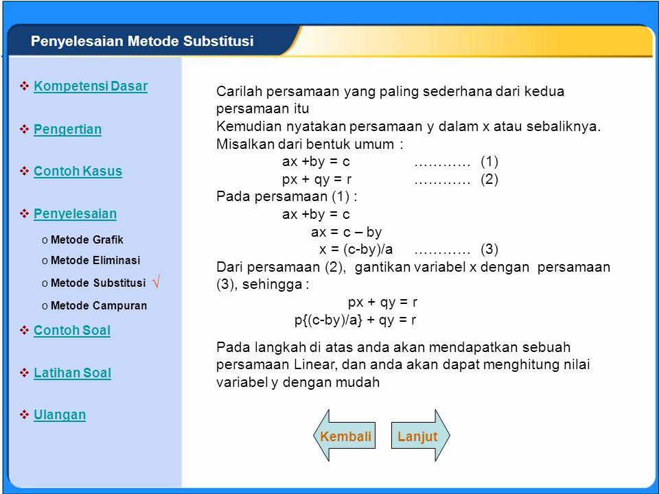 SISTEM PERSAMAAN LINEAR Metode substitusi adalah cara untuk menentukan penyelesaian sistem persamaan linear dengan menggantikan suatu variabel dengan variabel yang lainnya.