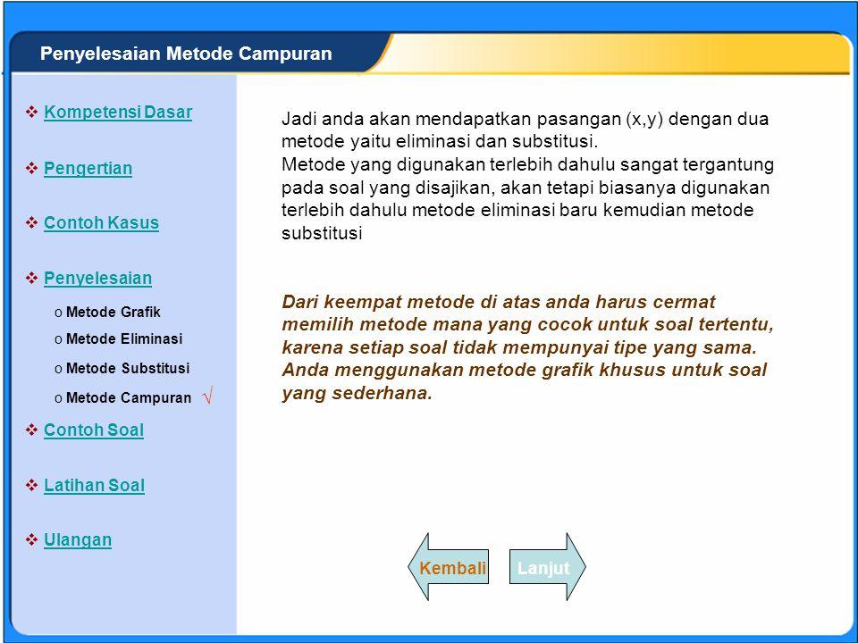 SISTEM PERSAMAAN LINEAR Penyelesaian dengan metode campuran adalah cara menentukan himpunan penyelesaian dengan menggabungkan antara metode eliminasi dan metode substitusi.