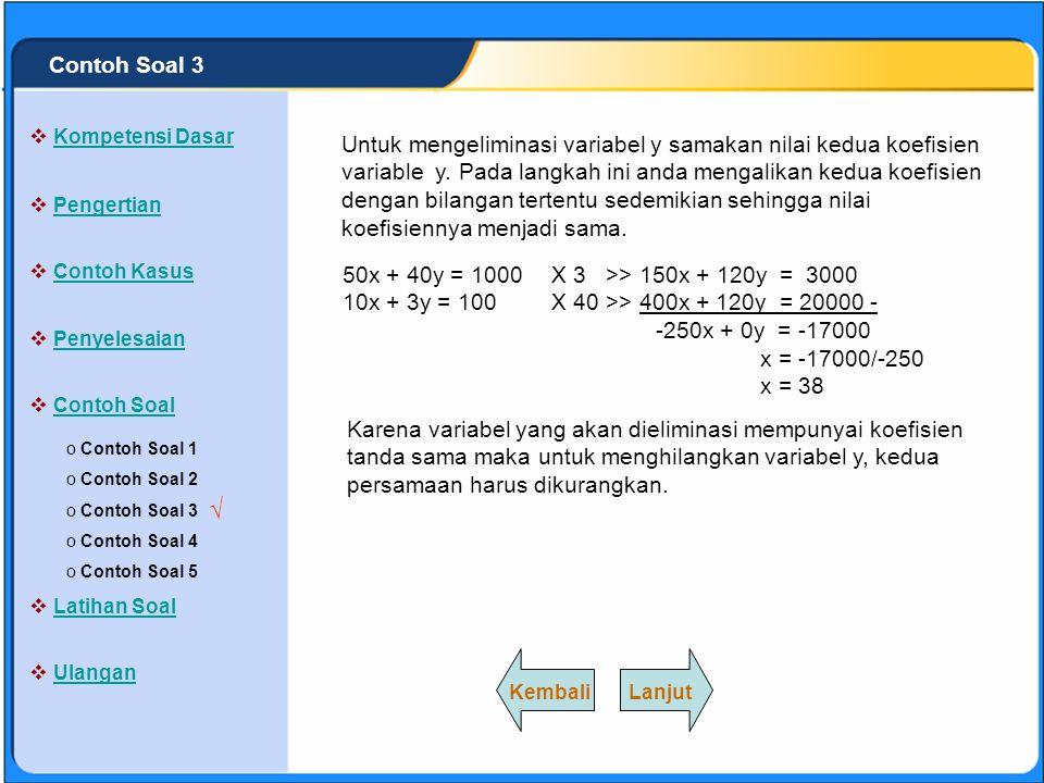 SISTEM PERSAMAAN LINEAR 50x + 40y = 1000 | X 1 | 50x + 40y = 1000 10x + 3y = 100 | X 5 | 50x + 15y = 500 - 25y = 500 y = 500/25 y = 20 Untuk mengeliminasi variable x samakan nilai kedua koefisien variable x.