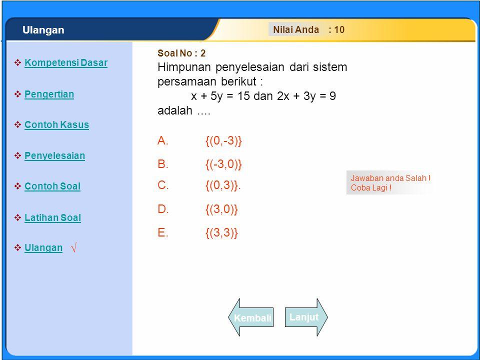 SISTEM PERSAMAAN LINEAR A.{(0,-3)} B.{(-3,0)} C.{(0,3)}. D.{(3,0)} E.{(3,3)} Klik Jawaban A, B, C, D atau E yang anda anggap paling benar !  Kompeten