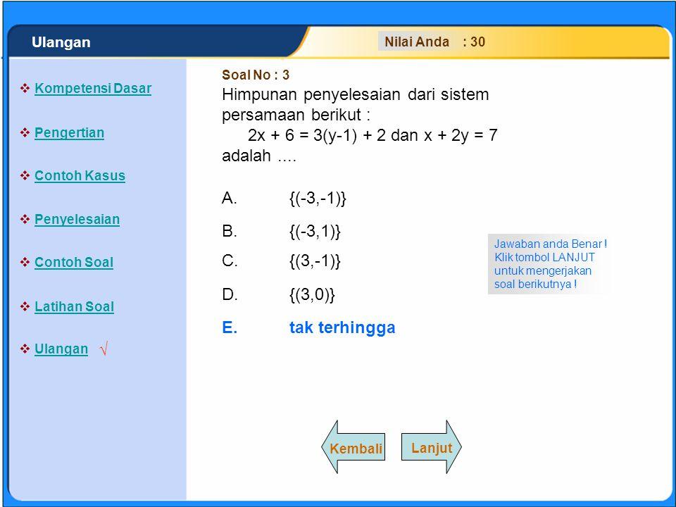 SISTEM PERSAMAAN LINEAR A.{(-3,-1)} B.{(-3,1)} C.{(3,-1)} D.{(3,0)} E.tak terhingga Jawaban anda Salah .