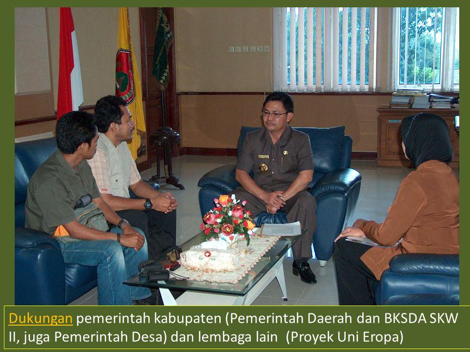 Dukungan pemerintah kabupaten (Pemerintah Daerah dan BKSDA SKW II, juga Pemerintah Desa) dan lembaga lain (Proyek Uni Eropa)