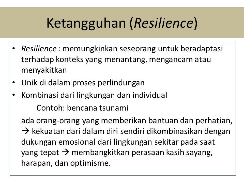 Ketangguhan (Resilience) • Resilience : memungkinkan seseorang untuk beradaptasi terhadap konteks yang menantang, mengancam atau menyakitkan • Unik di dalam proses perlindungan • Kombinasi dari lingkungan dan individual Contoh: bencana tsunami ada orang-orang yang memberikan bantuan dan perhatian,  kekuatan dari dalam diri sendiri dikombinasikan dengan dukungan emosional dari lingkungan sekitar pada saat yang tepat  membangkitkan perasaan kasih sayang, harapan, dan optimisme.