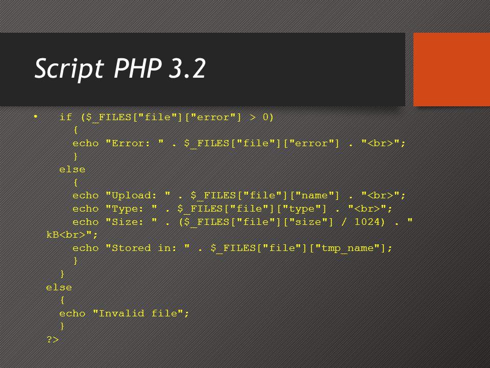 Saving the Uploaded File • Contoh di atas membuat salinan sementara dari file yang diupload dalam folder PHP temporary di server.