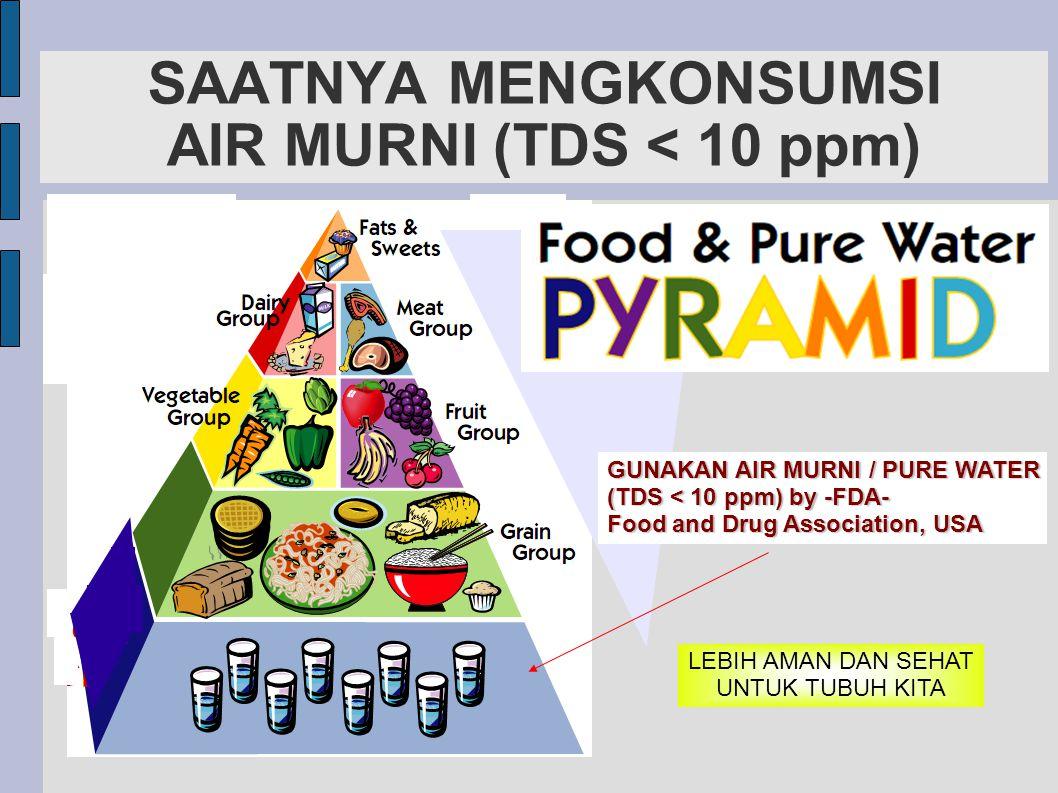 SAATNYA MENGKONSUMSI AIR MURNI (TDS < 10 ppm) GUNAKAN AIR MURNI / PURE WATER (TDS < 10 ppm) by -FDA- Food and Drug Association, USA LEBIH AMAN DAN SE