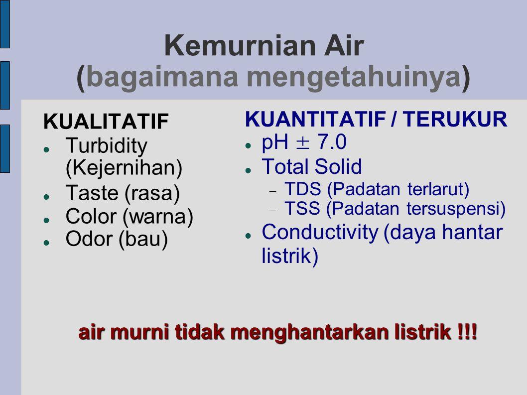 Kemurnian Air (bagaimana mengetahuinya) KUALITATIF  Turbidity (Kejernihan)  Taste (rasa)  Color (warna)  Odor (bau) KUANTITATIF / TERUKUR  pH