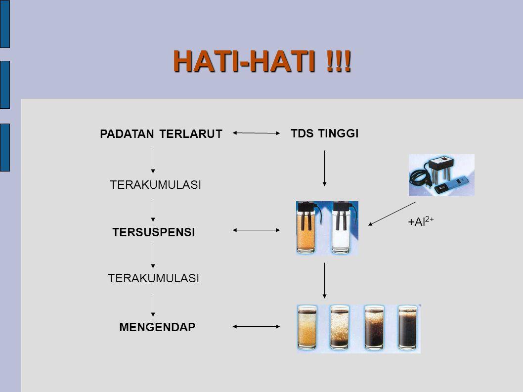 HATI-HATI !!! PADATAN TERLARUT TERAKUMULASI TERSUSPENSI TERAKUMULASI MENGENDAP TDS TINGGI +Al 2+