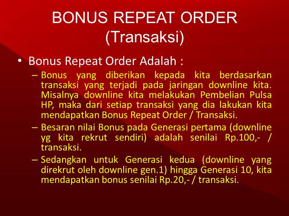 • Bonus Repeat Order Adalah : – Bonus yang diberikan kepada kita berdasarkan transaksi yang terjadi pada jaringan downline kita. Misalnya downline kit