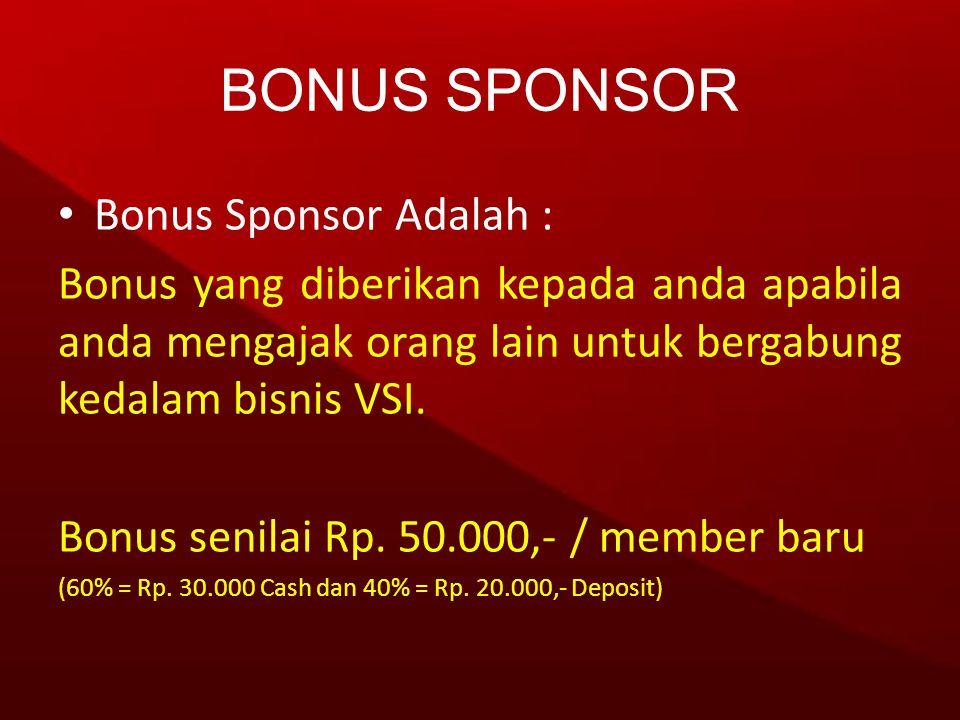 • Bonus Sponsor Adalah : Bonus yang diberikan kepada anda apabila anda mengajak orang lain untuk bergabung kedalam bisnis VSI. Bonus senilai Rp. 50.00
