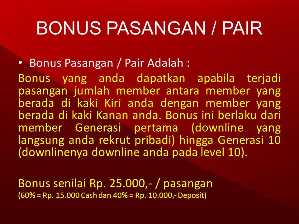 • Bonus Pasangan / Pair Adalah : Bonus yang anda dapatkan apabila terjadi pasangan jumlah member antara member yang berada di kaki Kiri anda dengan me