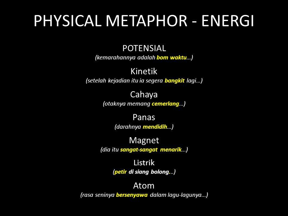 PHYSICAL METAPHOR - ENERGI POTENSIAL (kemarahannya adalah bom waktu...) Kinetik (setelah kejadian itu ia segera bangkit lagi...) Cahaya (otaknya memang cemerlang...) Panas (darahnya mendidih...) Magnet (dia itu sangat-sangat menarik...) Listrik (petir di siang bolong...) Atom (rasa seninya bersenyawa dalam lagu-lagunya...)
