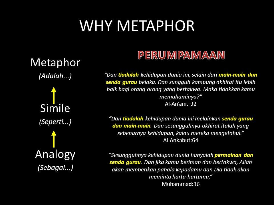 WHY METAPHOR Metaphor (Adalah...) Simile (Seperti...) Analogy (Sebagai...) Dan tiadalah kehidupan dunia ini, selain dari main-main dan senda gurau belaka.