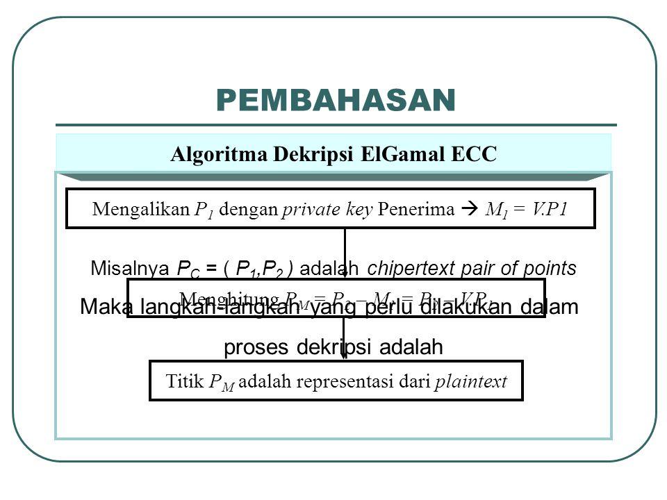 PEMBAHASAN Algoritma Dekripsi ElGamal ECC Misalnya P C = ( P 1,P 2 ) adalah chipertext pair of points Maka langkah-langkah yang perlu dilakukan dalam