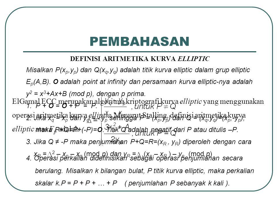 PROGRAM ENKRIPSI ElGamal ECC ( p,A,B,G E,N G )  Input parameter domain  Input Public key e  Banyaknya percobaan representasi pesan  Plaintext m  eccplain2num P M  eccnum2titik P C  Enkripsi ElGamal ECC P M  eccnum2titik P C  eccenk m  eccplain2num lpesan  Panjang pesan nkunci  panjang kunci bpesan  ceil((nkunci/8)-1) ipesan  ceil(lpesan/bpesan) If ipesan>bpesan Output P C For i <= ipesan No Yes i > ipesan i <= ipesan