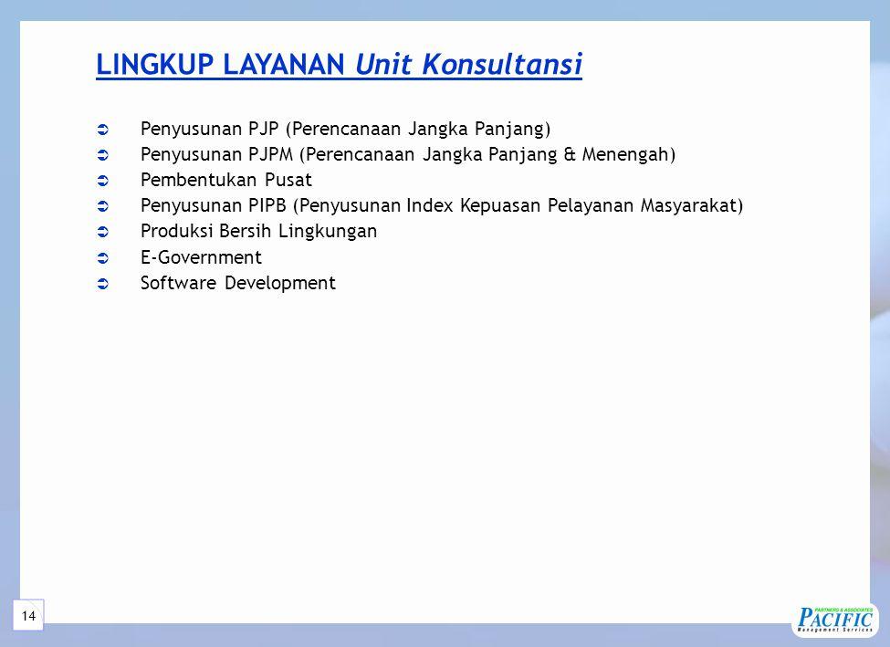14 LINGKUP LAYANAN Unit Konsultansi  Penyusunan PJP (Perencanaan Jangka Panjang)  Penyusunan PJPM (Perencanaan Jangka Panjang & Menengah)  Pembentukan Pusat  Penyusunan PIPB (Penyusunan Index Kepuasan Pelayanan Masyarakat)  Produksi Bersih Lingkungan  E-Government  Software Development