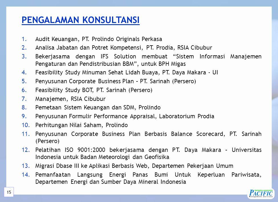 15 PENGALAMAN KONSULTANSI 1.Audit Keuangan, PT.