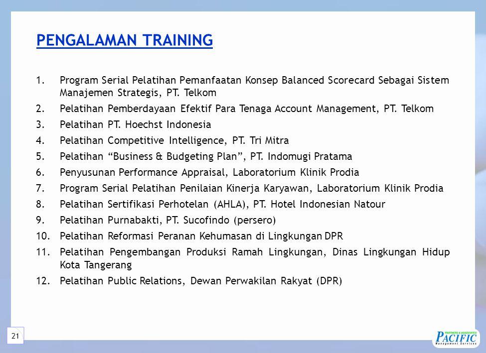 21 PENGALAMAN TRAINING 1.Program Serial Pelatihan Pemanfaatan Konsep Balanced Scorecard Sebagai Sistem Manajemen Strategis, PT.