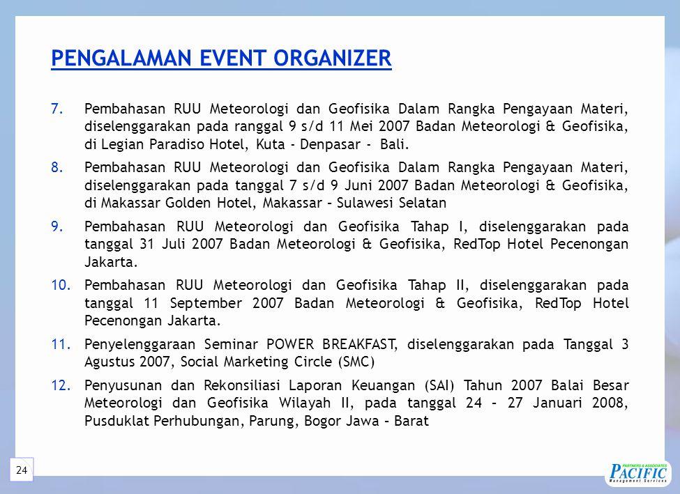 24 PENGALAMAN EVENT ORGANIZER 7.Pembahasan RUU Meteorologi dan Geofisika Dalam Rangka Pengayaan Materi, diselenggarakan pada ranggal 9 s/d 11 Mei 2007 Badan Meteorologi & Geofisika, di Legian Paradiso Hotel, Kuta - Denpasar - Bali.