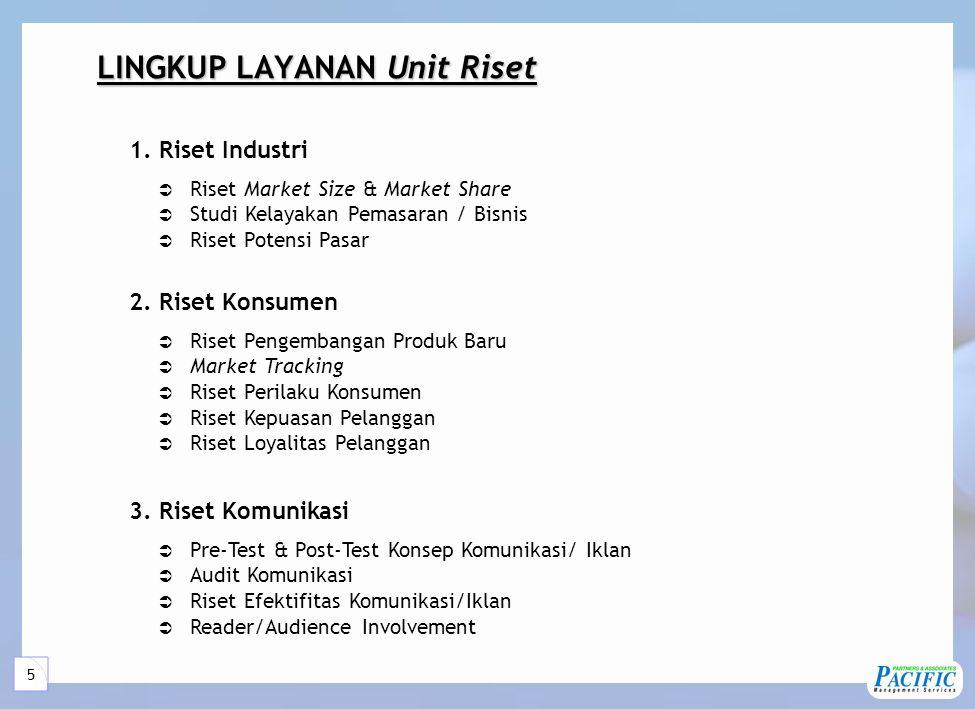 5 LINGKUP LAYANAN Unit Riset  Riset Market Size & Market Share  Studi Kelayakan Pemasaran / Bisnis  Riset Potensi Pasar 1.