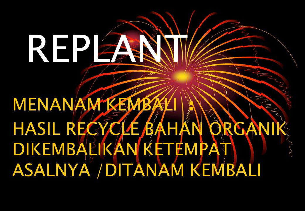 REPLANT MENANAM KEMBALI : HASIL RECYCLE BAHAN ORGANIK DIKEMBALIKAN KETEMPAT ASALNYA /DITANAM KEMBALI