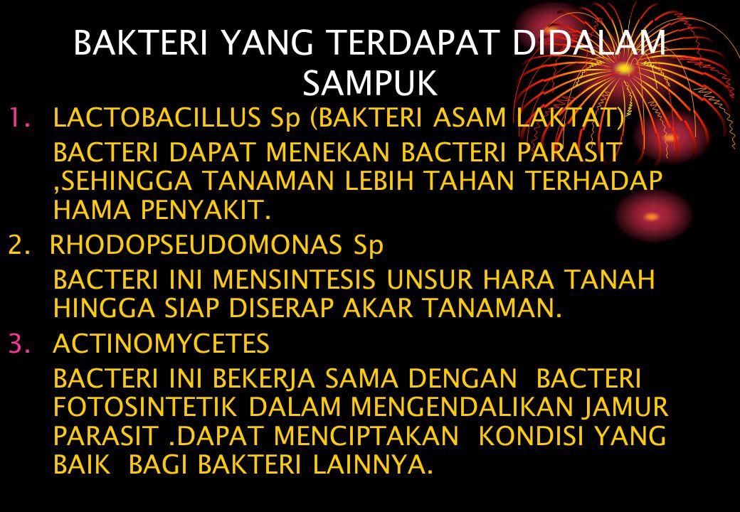 BAKTERI YANG TERDAPAT DIDALAM SAMPUK 1.LACTOBACILLUS Sp (BAKTERI ASAM LAKTAT) BACTERI DAPAT MENEKAN BACTERI PARASIT,SEHINGGA TANAMAN LEBIH TAHAN TERHA