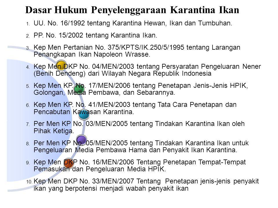1. UU. No. 16/1992 tentang Karantina Hewan, Ikan dan Tumbuhan. 2. PP. No. 15/2002 tentang Karantina Ikan. 3. Kep Men Pertanian No. 375/KPTS/IK.250/5/1