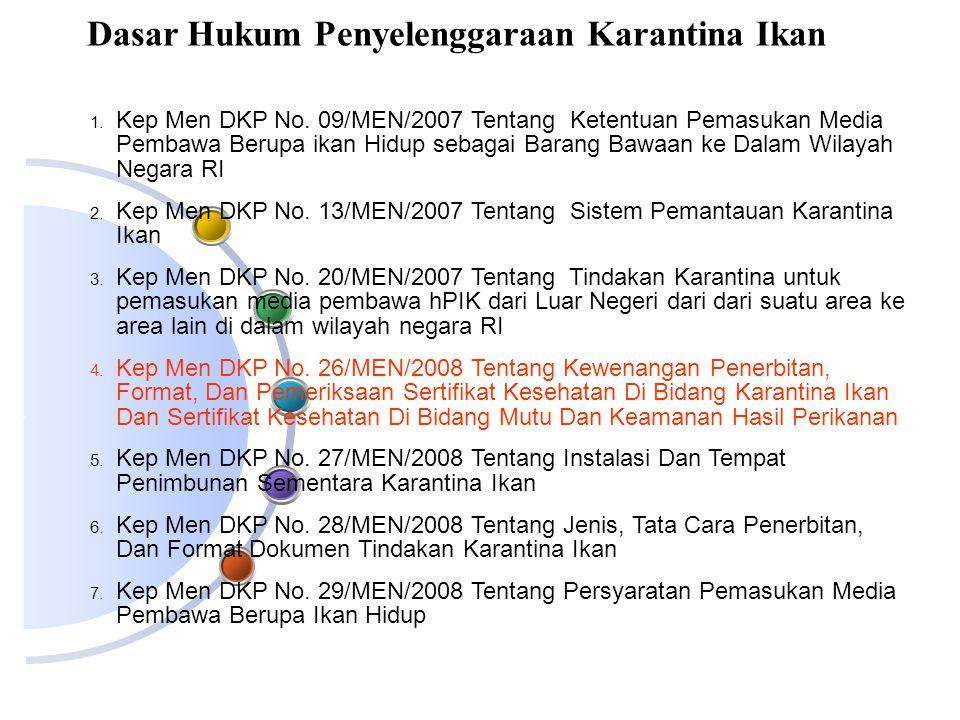 1. Kep Men DKP No. 09/MEN/2007 Tentang Ketentuan Pemasukan Media Pembawa Berupa ikan Hidup sebagai Barang Bawaan ke Dalam Wilayah Negara RI 2. Kep Men