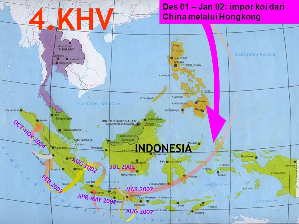 INDONESIA APR-MAY 2002 JUL 2002 AUG 2002 OCT-NOV 2004 AUG 2002 4.KHV MAR 2002 FEB 2003 Des 01 – Jan 02: impor koi dari China melalui Hongkong
